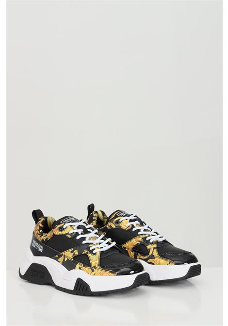 Black LINEA FONDO SPEED DIS.31 sneakers, sock model with contrasting logo and baroque print. Versace jeans couture VERSACE JEANS COUTURE   Sneakers   E0VWASF371953M27