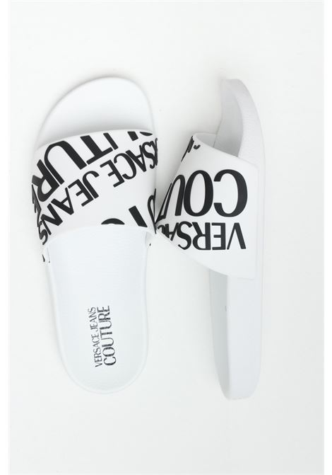 White Linea fondo slide slippers in solid color with maxi logo in contrast. Versace jeans couture VERSACE JEANS COUTURE | Slipper | E0VWASQ171352003