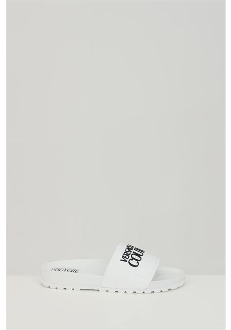 Ciabatte LINEA FONDO SLIDES DIS. SQ2 unisex bianche versace jeans couture in gomma, tinta unita con logo a contrasto frontale VERSACE JEANS COUTURE | Ciabatte | E0VWASQ271353003