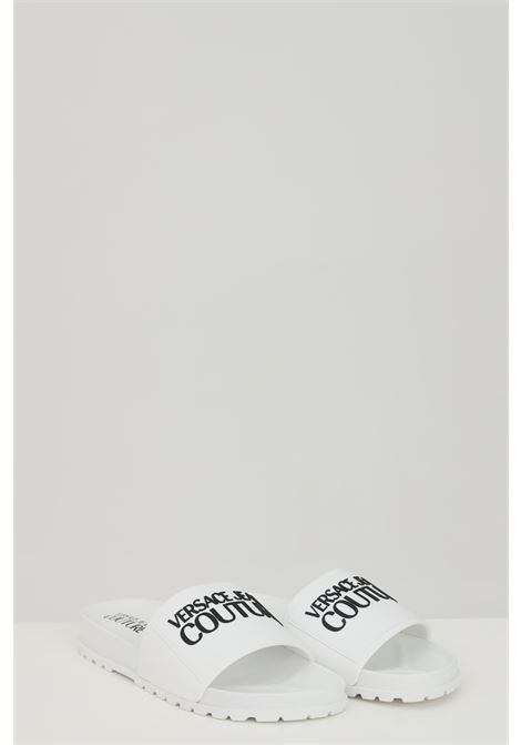 White LINEA FONDO SLIDES DIS. SQ2 slippers, solid color with contrasting logo on the front. Versace jeans couture VERSACE JEANS COUTURE | Slipper | E0VWASQ271353003