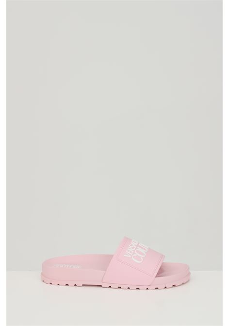 Pink LINEA FONDO SLIDES DIS. SQ2 slippers, solid color with contrasting logo on the front. Versace jeans couture VERSACE JEANS COUTURE | Slipper | E0VWASQ271353426