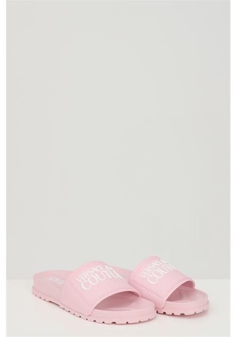 Ciabatte LINEA FONDO SLIDES DIS. SQ2 unisex rosa versace jeans couture in gomma, tinta unita con logo a contrasto frontale VERSACE JEANS COUTURE | Ciabatte | E0VWASQ271353426