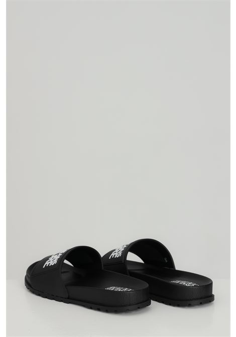 Black LINEA FONDO SLIDES DIS. SQ2 slippers, solid color with contrasting logo on the front. Versace jeans couture VERSACE JEANS COUTURE | Slipper | E0VWASQ271353899