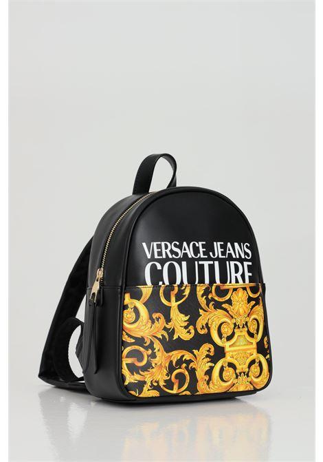Zaino donna nero-oro versace jeans couture con stampa barocca e maxi logo frontale VERSACE JEANS COUTURE | Zaini | E1VWABG871727M27M27