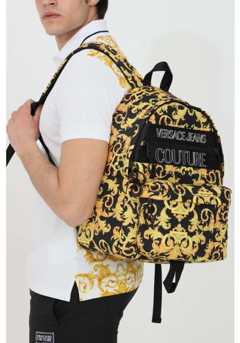 Gold-black backpack, entirely printed in baroque theme. Versace jeans couture VERSACE JEANS COUTURE | Backpack | E1YWABA171896M27