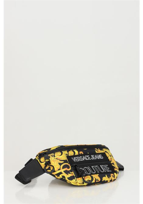 Black-gold pouch with baroque print and front logo. Versace jeans couture VERSACE JEANS COUTURE | Pouch | E1YWABA271896M27