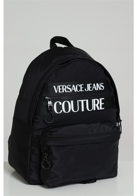 Black backpack with maxi logo in contrast and adjustable shoulder straps. Versace jeans couture VERSACE JEANS COUTURE | Backpack | E1YZAB6071593899