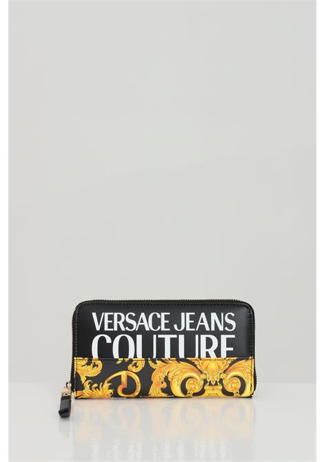 Black-gold wallet with baroque print and zip closure. Versace jeans couture VERSACE JEANS COUTURE | Wallet | E3VWAPG171727M27