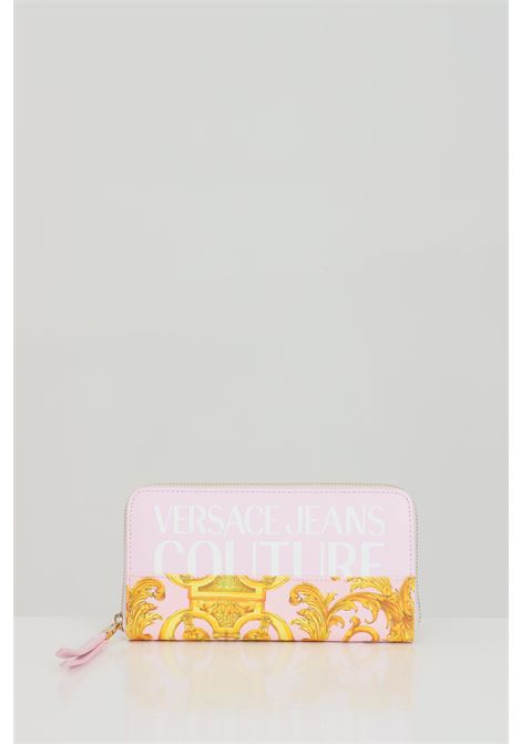 Pink-gold wallet with baroque print and zip closure. Versace jeans couture VERSACE JEANS COUTURE | Wallet | E3VWAPG171727O33