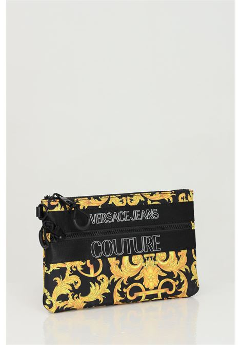 Black-gold pouch with baroque print and contrasting logo on the front. Versace jeans couture VERSACE JEANS COUTURE | Bag | E3YWAPA271896M27