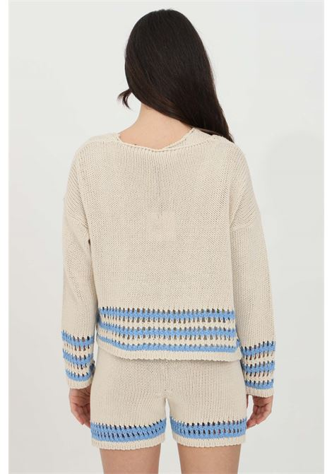 Beige-light blue cardigan with knitting. Woven and perforated bottom. Vicolo VICOLO | Cardigan | 5030HBEIGE-AZZURRO