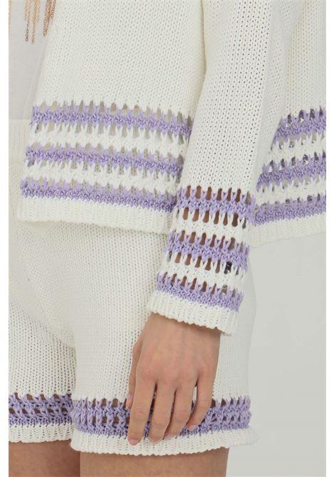 White-lilac cardigan. Woven and perforated bottom. Vicolo VICOLO | Cardigan | 5030HBIANCO-LILLA