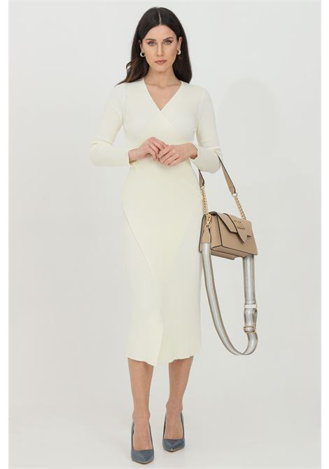 Ivory dress with ribs, stretch model with V-neck. Slim fit. Vicolo VICOLO | Dress | 7013HAVORIO