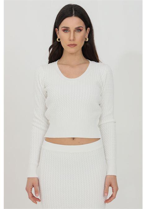 White sweater in knitted cotton. Vicolo VICOLO | Knitwear | 7019HBIANCO