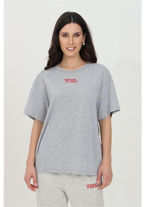 T-shirt donna grigia vicolo a manica corta con logo ricamato. Modello comodo VICOLO | T-shirt | RH0005GRIGIO