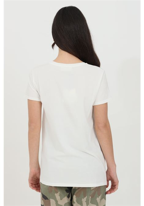 White t-shirt with print on the front, short sleeves. Gold chain application. Vicolo VICOLO | T-shirt | RH0099BIANCO