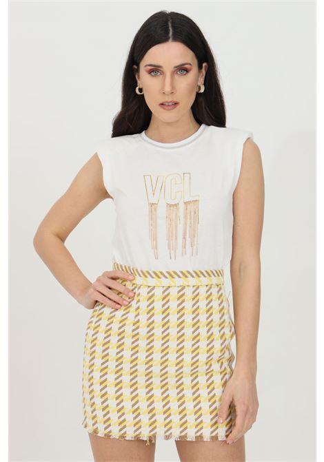 T-shirt donna bianca Vicolo smanicata con spalline e stampa frontale color oro VICOLO | T-shirt | RH0202BIANCO