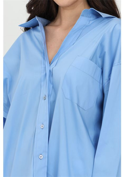 Blue shirt with long sleevec, front closure with buttons. Over size model. Vicolo VICOLO | Shirt | TH0016AZZURRO