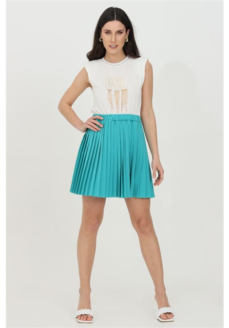Green skirt with curls at the waist, plisset. Comfortable model with high waist. Vicolo VICOLO | Skirt | TH0138VERDE