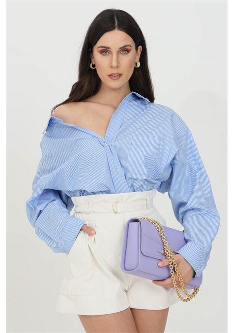 Camicia donna azzurra vicolo casual con stampa a righe. Chiusura con bottoni e colletto regular. Modello over size VICOLO | Camicie | TH0332AZZURRO-BIANCO