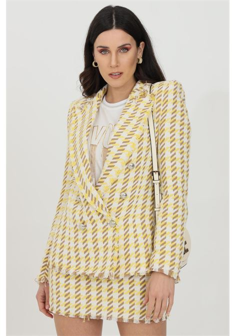 Yellow-ivory jacket with mini fringes at the edges. Closure with buttons. Vicolo VICOLO | Blazer | TH0590GIALLO-AVORIO