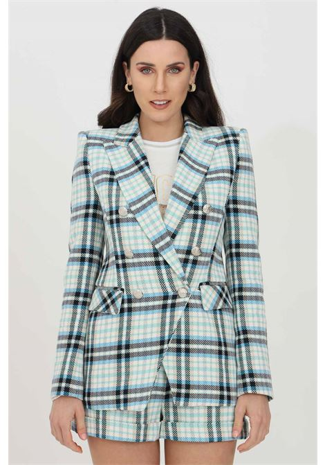 Ivory-blue jacket with geometric print and shoulder straps. Closure with metal buttons. Side pockets. Long sleeves. Vicolo VICOLO | Blazer | TH0598AVORIO-AZZURRO