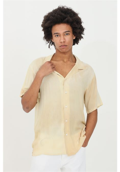 Beige shirt with short sleeves. Classic closure with buttons. Soft regular collar. Yes london YES LONDON | Shirt | XCM7079BEIGE