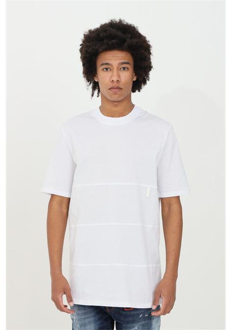 T-shirt uomo bianca yes london a manica corta girocollo in tinta unita. 3 bande orizzontali tono su tono YES LONDON | T-shirt | XM3864BIANCO
