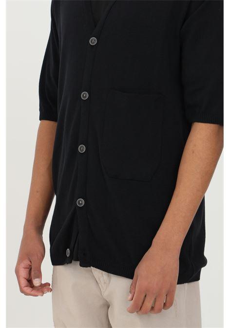Black cardigan in premium cotton, short sleeves. Button closure. Yes london YES LONDON | Cardigan | XMF2099NERO