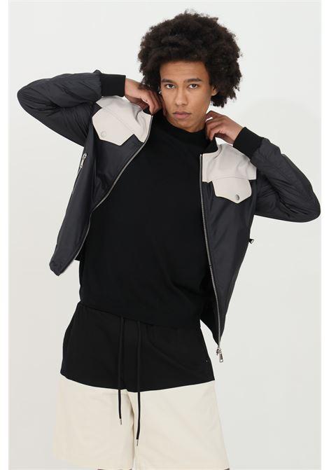 Giubbotto uomo nero yes london modello giacca in pelle con zip integrale e doppio tessuto YES LONDON | Giubbotti | XNP8026NERO-PANNA