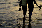 Couple Walking Waves - Public Domain Pictures