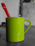 Green Cup Spoon Red - Public Domain Pictures