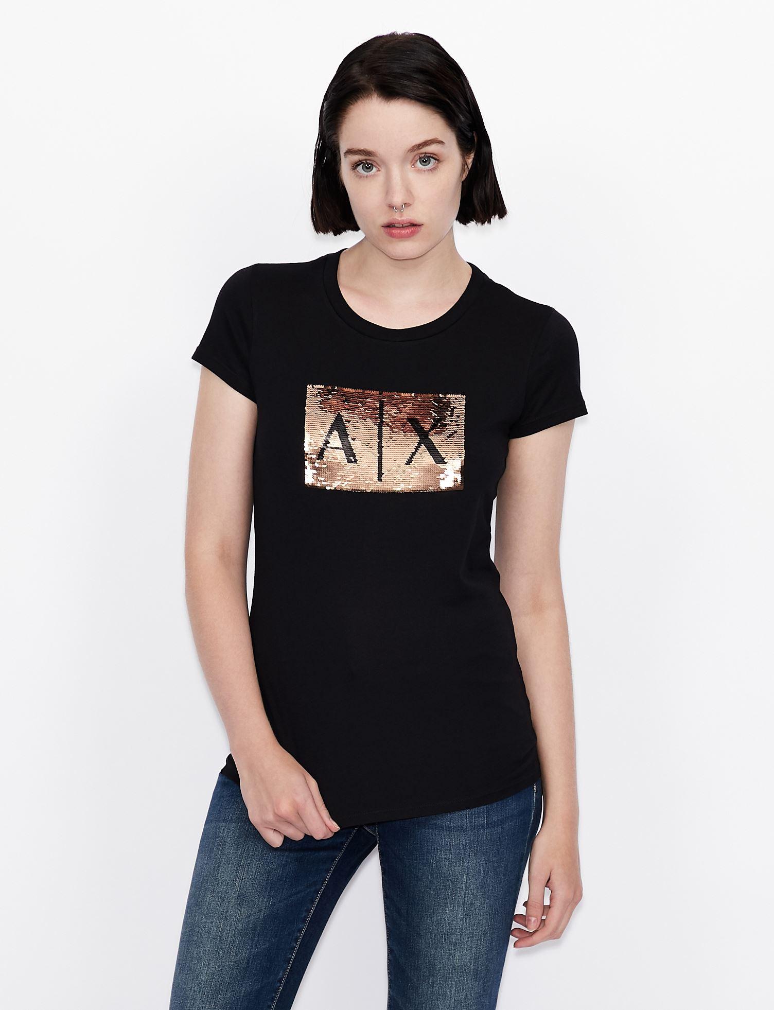 T-shirt slim fit con logo in paillettes Armani Exchange ARMANI EXCHANGE | T-shirt | 8NYTDL-YJ73Z6231
