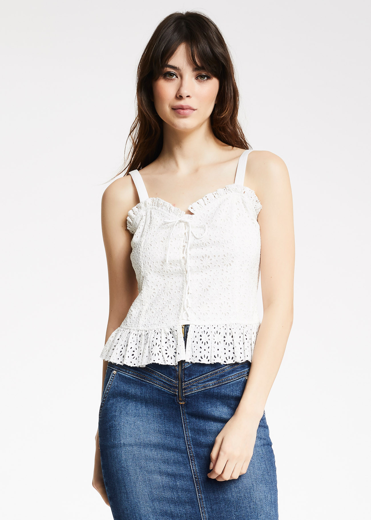 Top in pizzo sangallo Denny Rose DENNY ROSE | Top | ND450162124