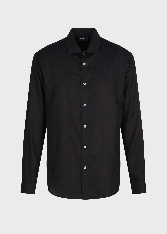 Camicia in tessuto jacquard con lettering ton sur ton Emporio Armani EMPORIO ARMANI   T-shirt   3K1CC4-1NI8ZF024