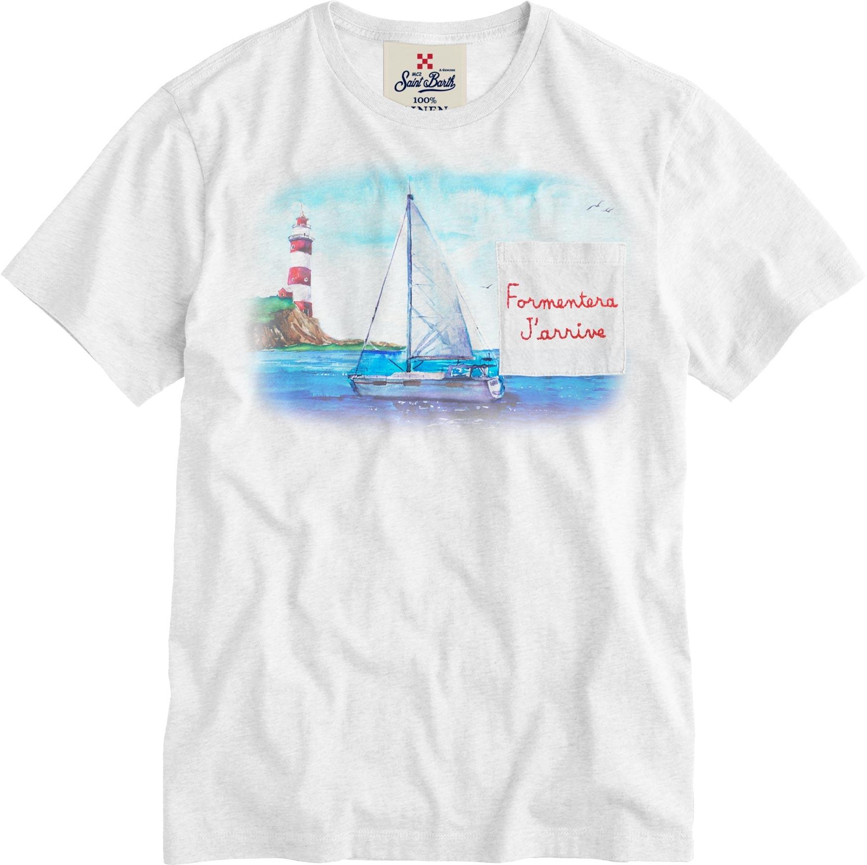 T-shirt MC2 Saint Barth con scritta ricamata MC2 SAINT BARTH | T-shirt | ECSTASEAEFOS1N