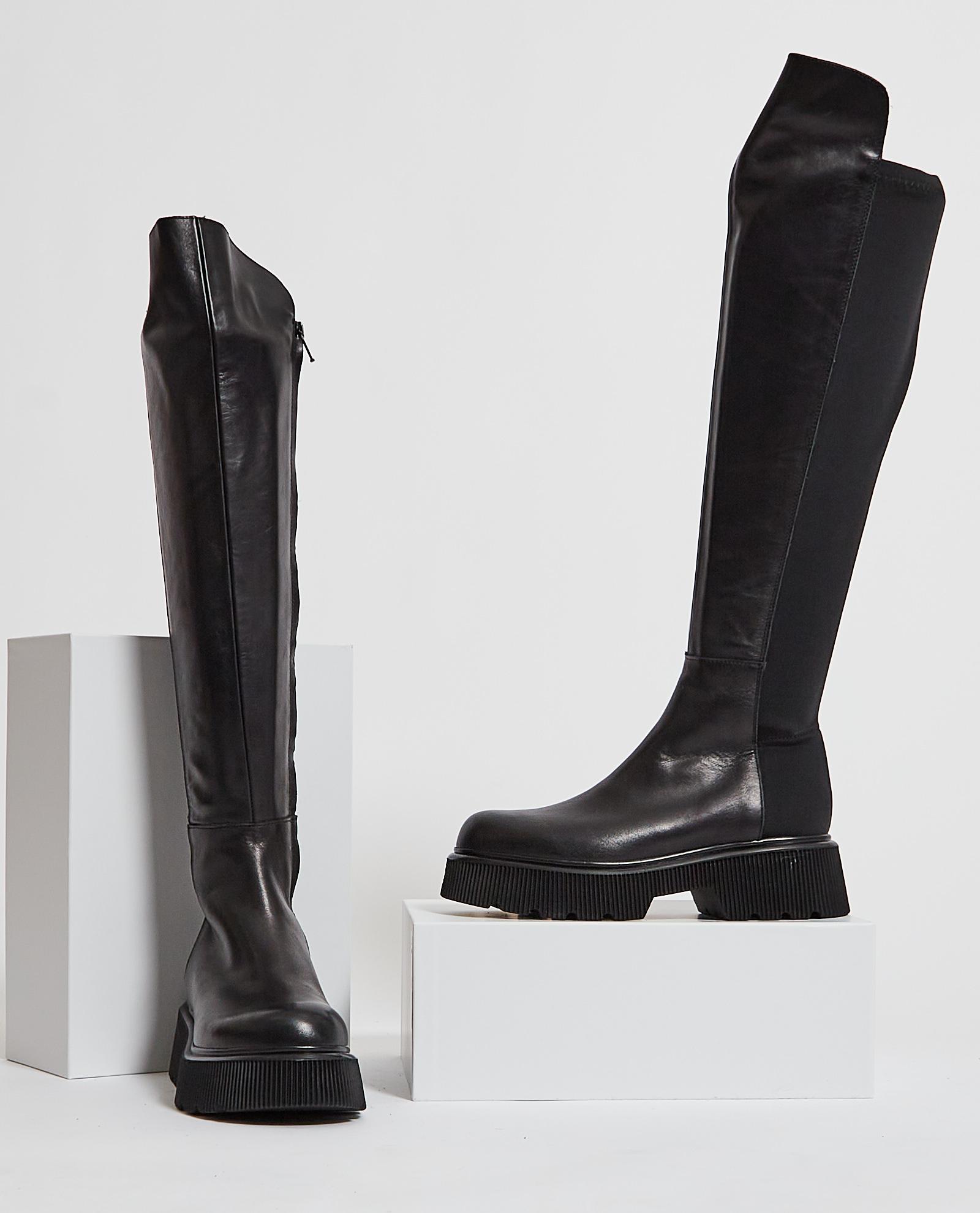 Stivali alti con suola in gomma ALBANO   Scarpe   2021NERO