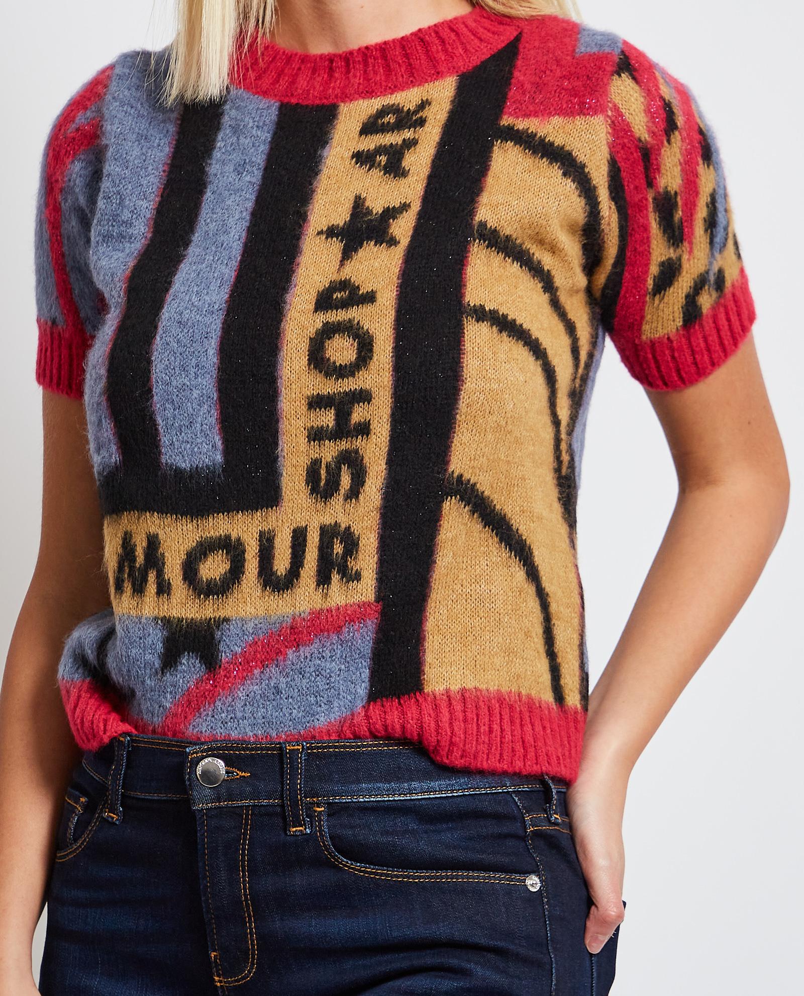 Pullover a girocollo Shop Art con logo sul petto e a mezze maniche SHOP ART   Maglia   SH61103UNICA