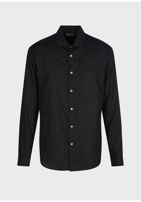 Camicia in tessuto jacquard con lettering ton sur ton Emporio Armani EMPORIO ARMANI | T-shirt | 3K1CC4-1NI8ZF024