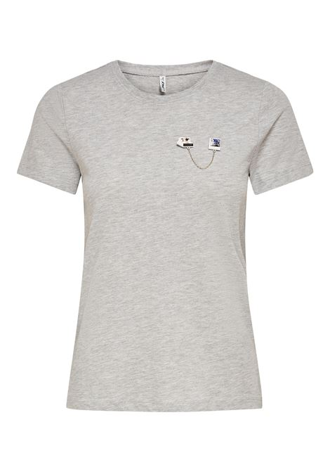 ONLKITA LIFE REG S/S PIN BOX TOP JRS ONLY | T-shirt | 15226044LIGHT GREY MELANGE