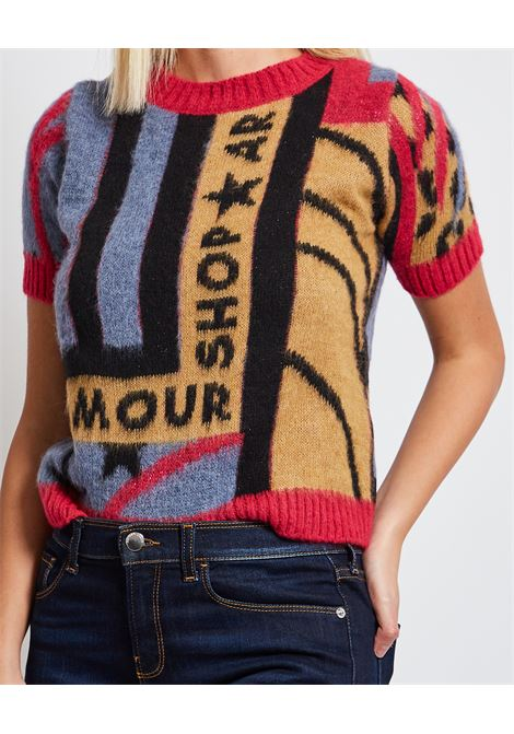 Pullover a girocollo Shop Art con logo sul petto e a mezze maniche SHOP ART | Maglia | SH61103UNICA