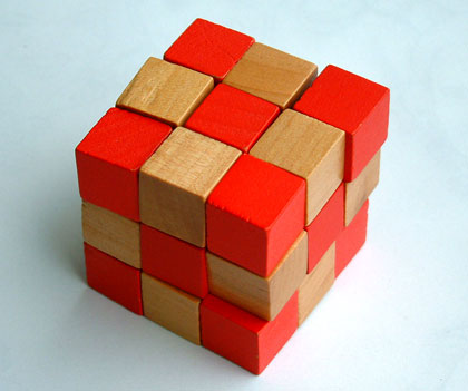 Red Wooden Snake Cube Large