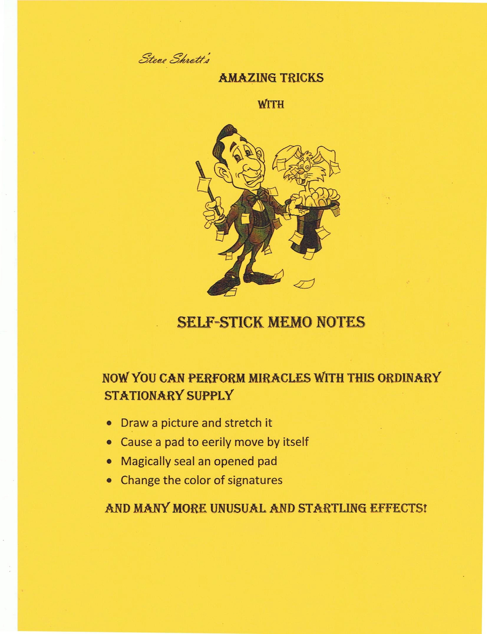 Amazing Tricks With Self Stick Memo Notes By Steve Shrott Instant Download