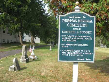 CEMETERY SIGN, THOMPSON MEMORIAL - Bucks County, Pennsylvania | THOMPSON MEMORIAL CEMETERY SIGN - Pennsylvania Gravestone Photos