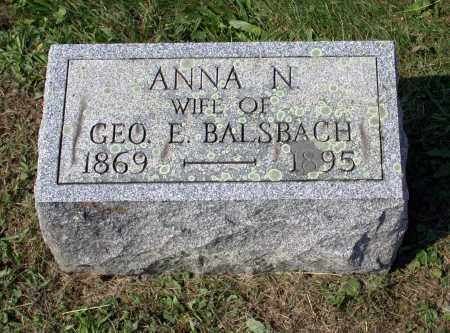 BALSBACH, ANNA N. - Juniata County, Pennsylvania | ANNA N. BALSBACH - Pennsylvania Gravestone Photos