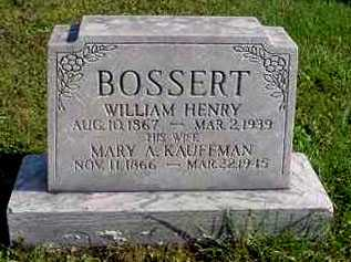 BOSSERT, WILLIAM HENRY - Juniata County, Pennsylvania | WILLIAM HENRY BOSSERT - Pennsylvania Gravestone Photos