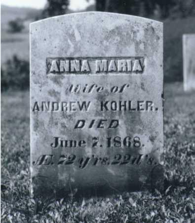 KOHLER, ANNA MARIA - Juniata County, Pennsylvania   ANNA MARIA KOHLER - Pennsylvania Gravestone Photos