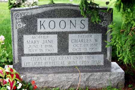 CALHOUN KOONS, MARY JANE - Juniata County, Pennsylvania | MARY JANE CALHOUN KOONS - Pennsylvania Gravestone Photos