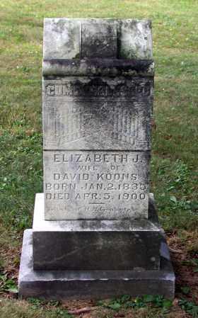 "JACOBS KOONS, ELIZABETH ""LIZZIE"" - Juniata County, Pennsylvania | ELIZABETH ""LIZZIE"" JACOBS KOONS - Pennsylvania Gravestone Photos"
