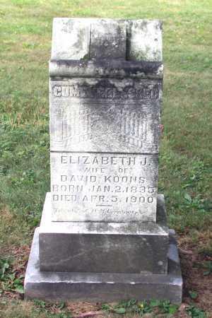 "JACOBS KOONS, ELIZABETH ""LIZZIE"" - Juniata County, Pennsylvania   ELIZABETH ""LIZZIE"" JACOBS KOONS - Pennsylvania Gravestone Photos"